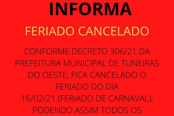FERIADO DE CARNAVAL CANCELADO